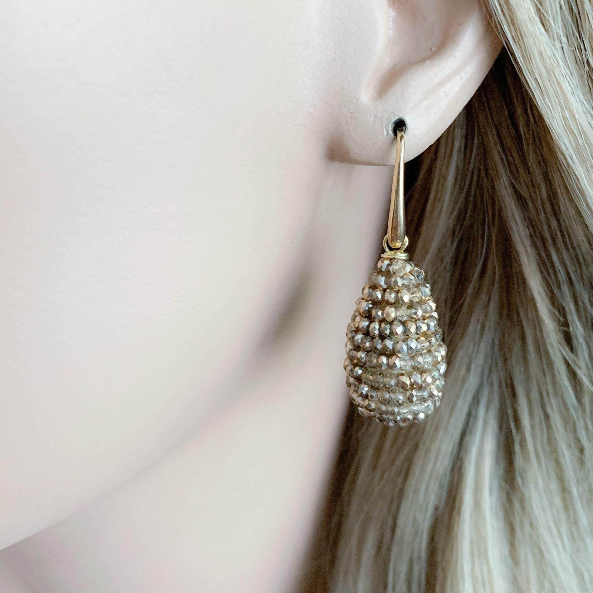 Gold kristallen oorbellen