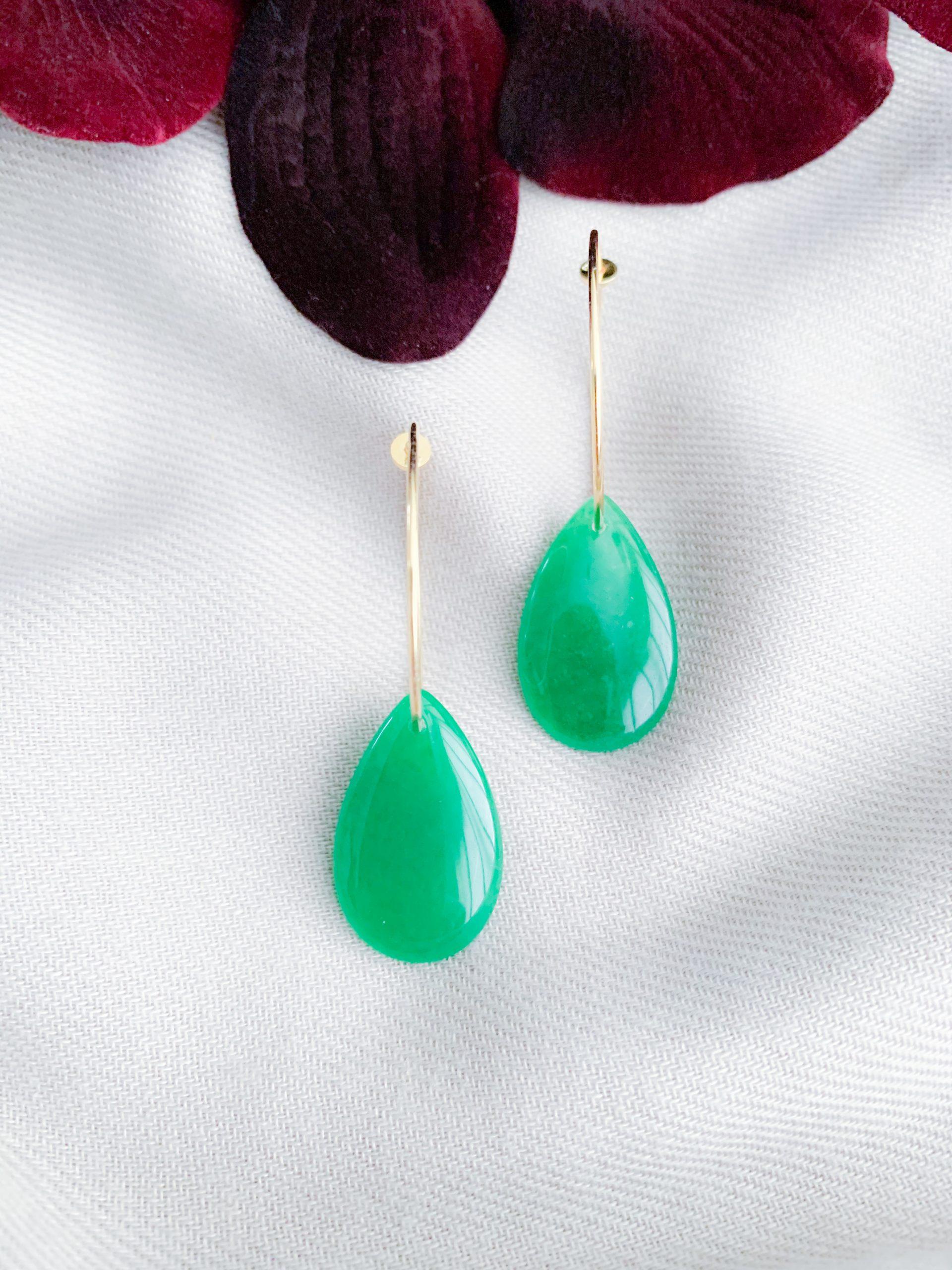 Vermeil creolen en groene jade