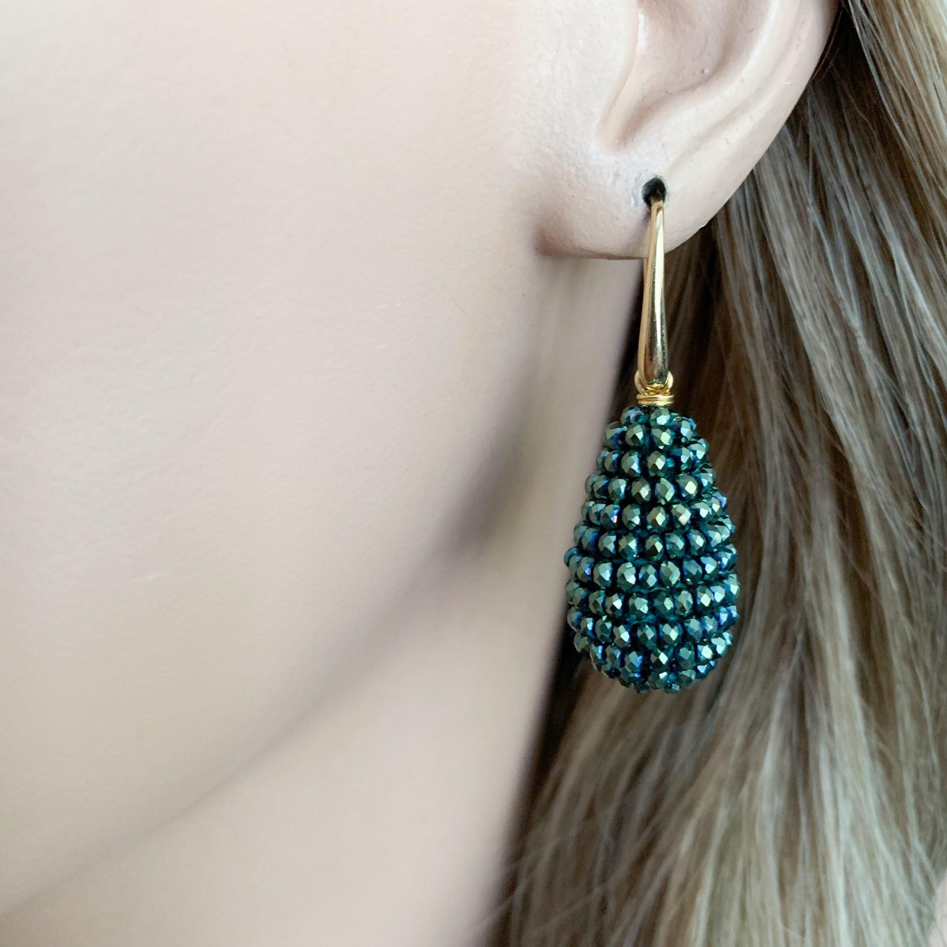 Groen/blauw kristallen oorbellen