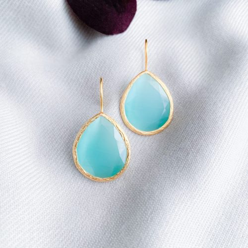 Aqua blue cat's eye oorbellen