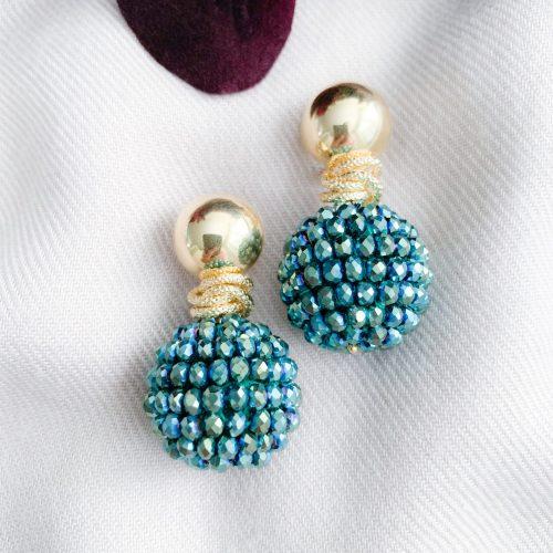 Groen/blauwe kristallen en vermeil oorbellen
