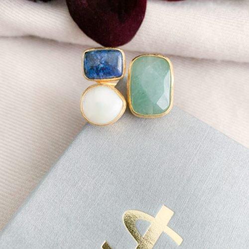 Jade lapis lazuli en zoetwaterparels ring