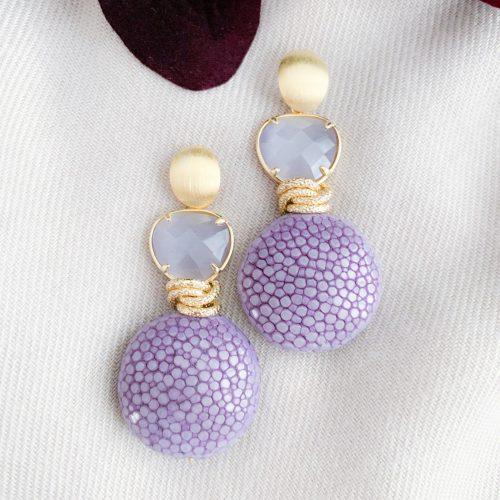 Lavendel stingray brushed vermeil en cat's eye oorbellen