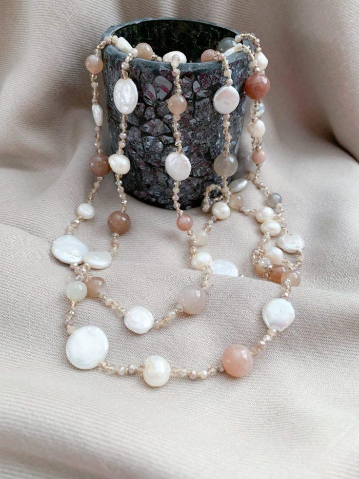 Multi edelsteen, zoetwaterparels en barokparels ketting