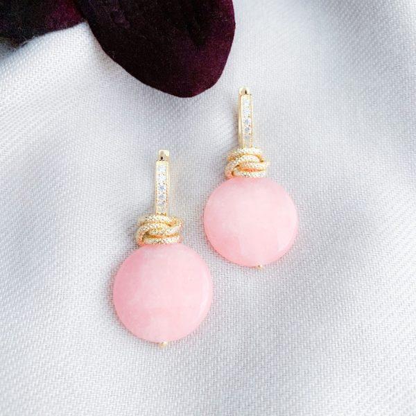 Roze jade vermeil en zirkonia's oorbellen