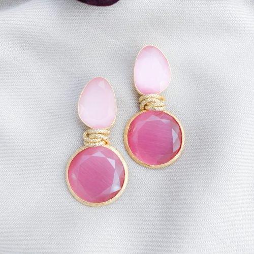 Fuchsia en roze cat's eye oorbellen
