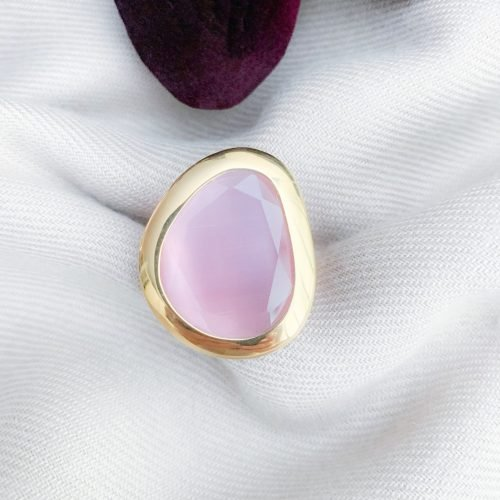 Vermeil 925 roze cat's eye ring