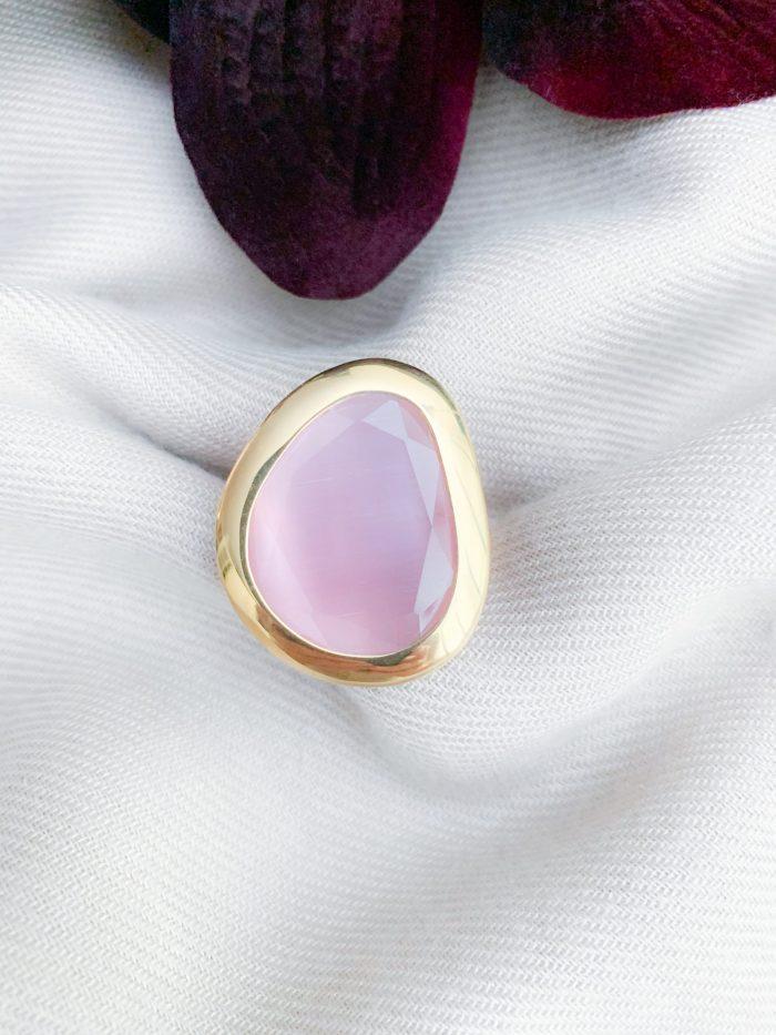 Vermeil 925 roze cat's eye ring