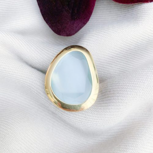Vermeil 925 lichtblauwe cat's eye ring