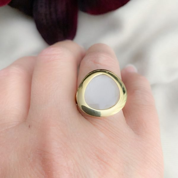 Vermeil 925 mintgroene cat's eye ring