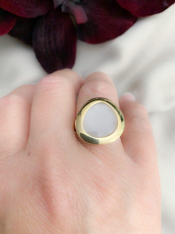 Vermeil 925 mintgroene cat's eye ring