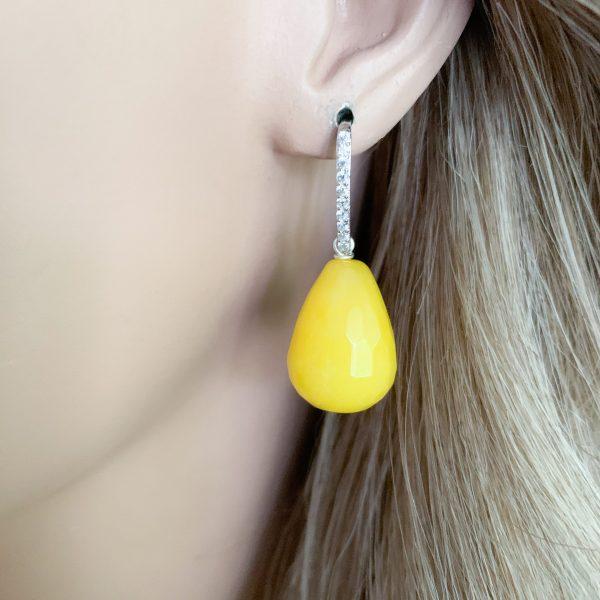 Sterling zilver 925 gele jade en zirkonia's oorbellen