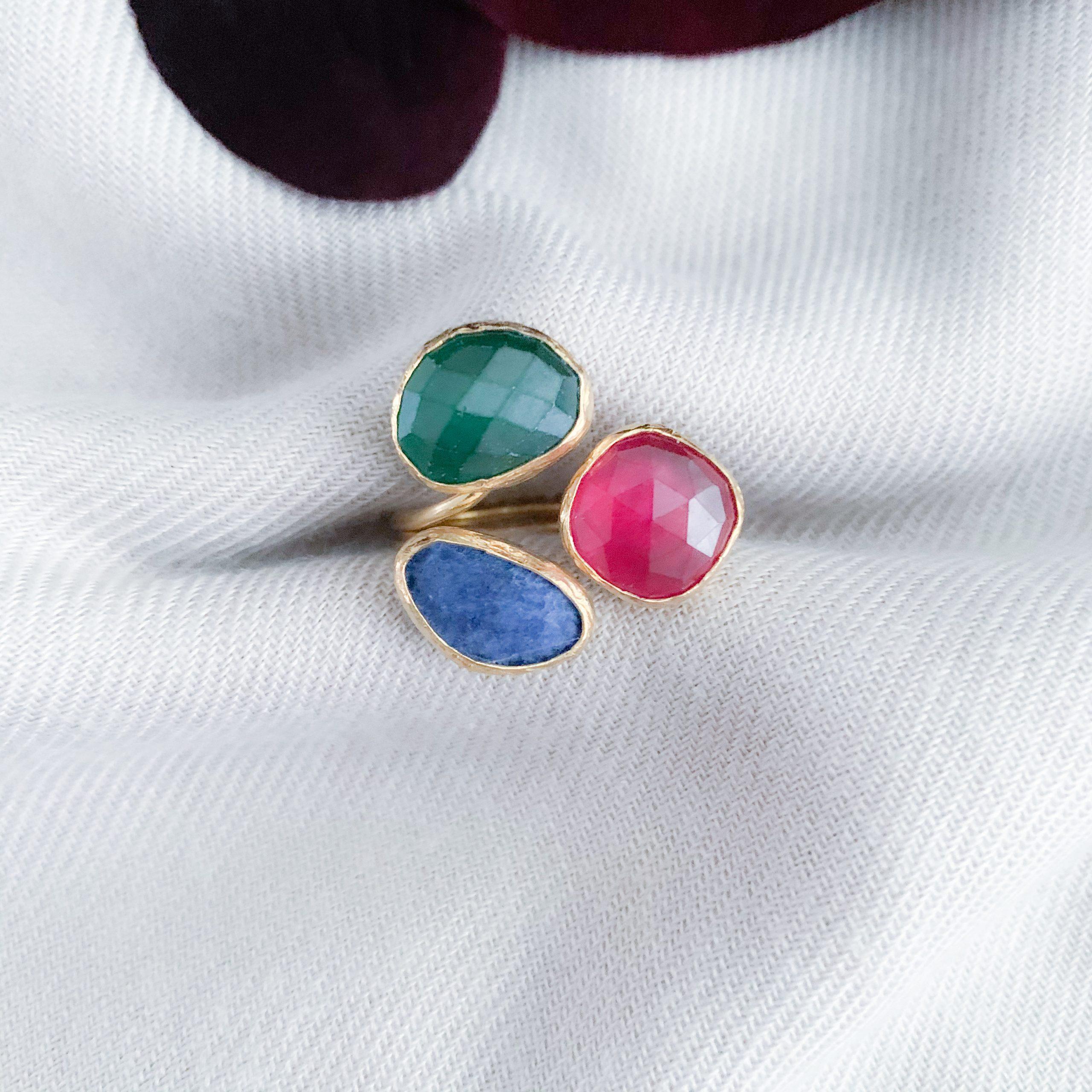Jade en lapis lazuli ring