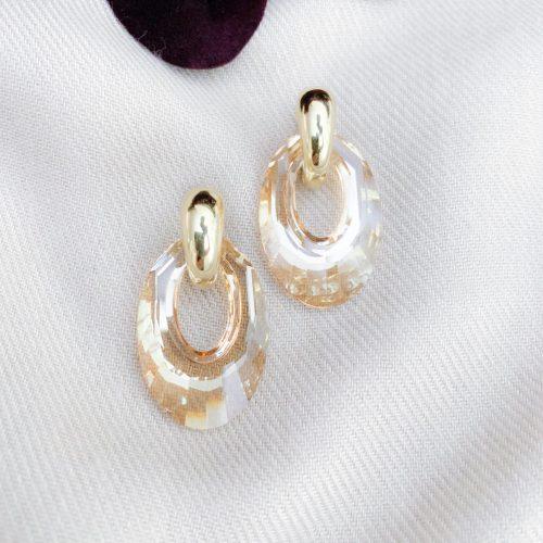 Gold Swarovski vermeil oorbellen
