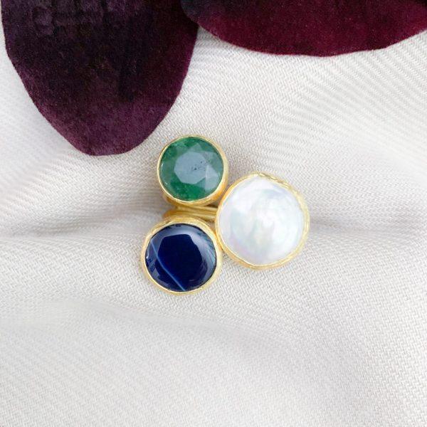 Agaat en zoetwaterparels ring
