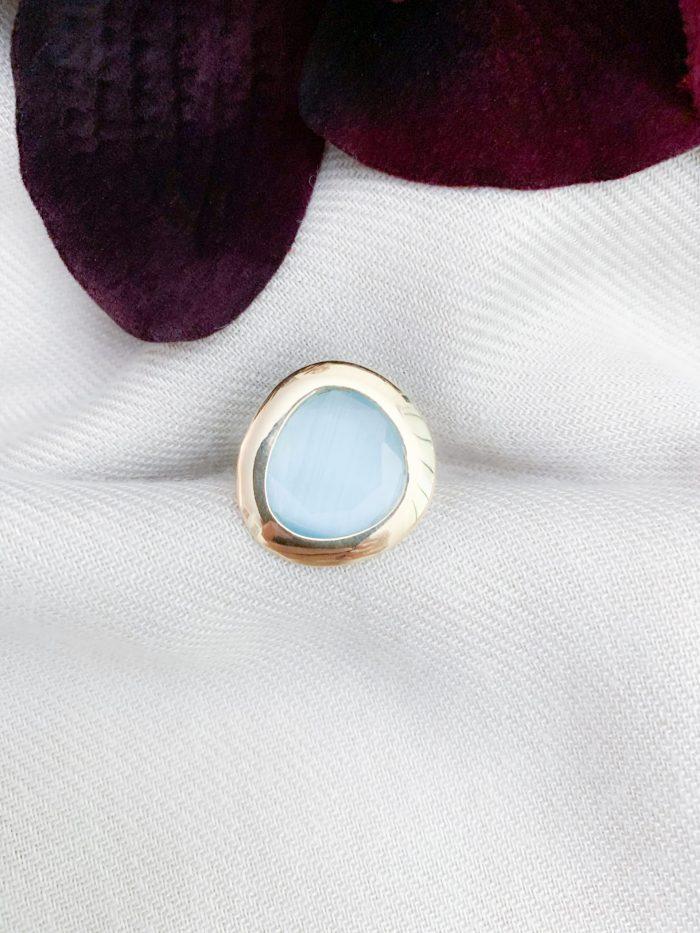 Vermeil 925 lichtblauwe cat's eye ring