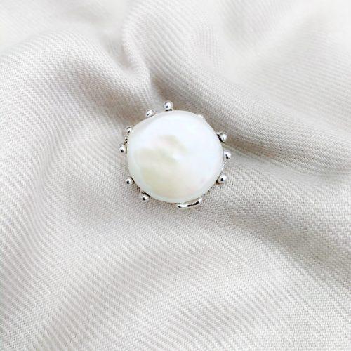 Grote barokparels ring sterling zilver 925