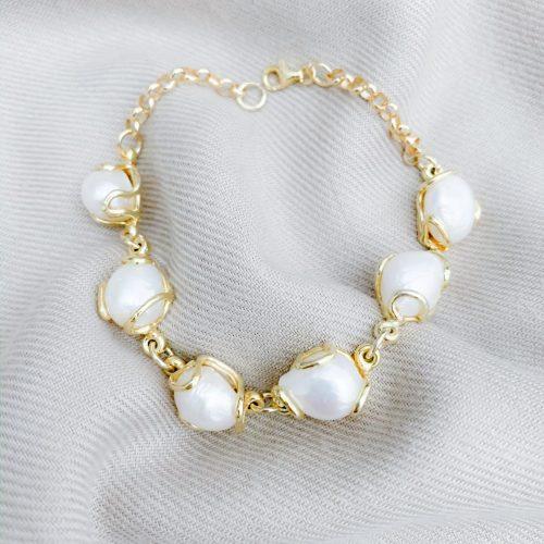 Barokparels vermeil goud over sterling zilver 925 armband