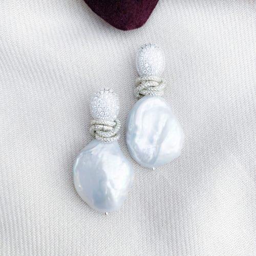 Sterling zilver 925 zirkonia's en grijze zoetwaterparels oorbellen
