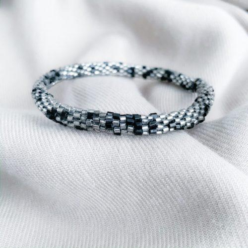 Zwart/grijs miyuki armband