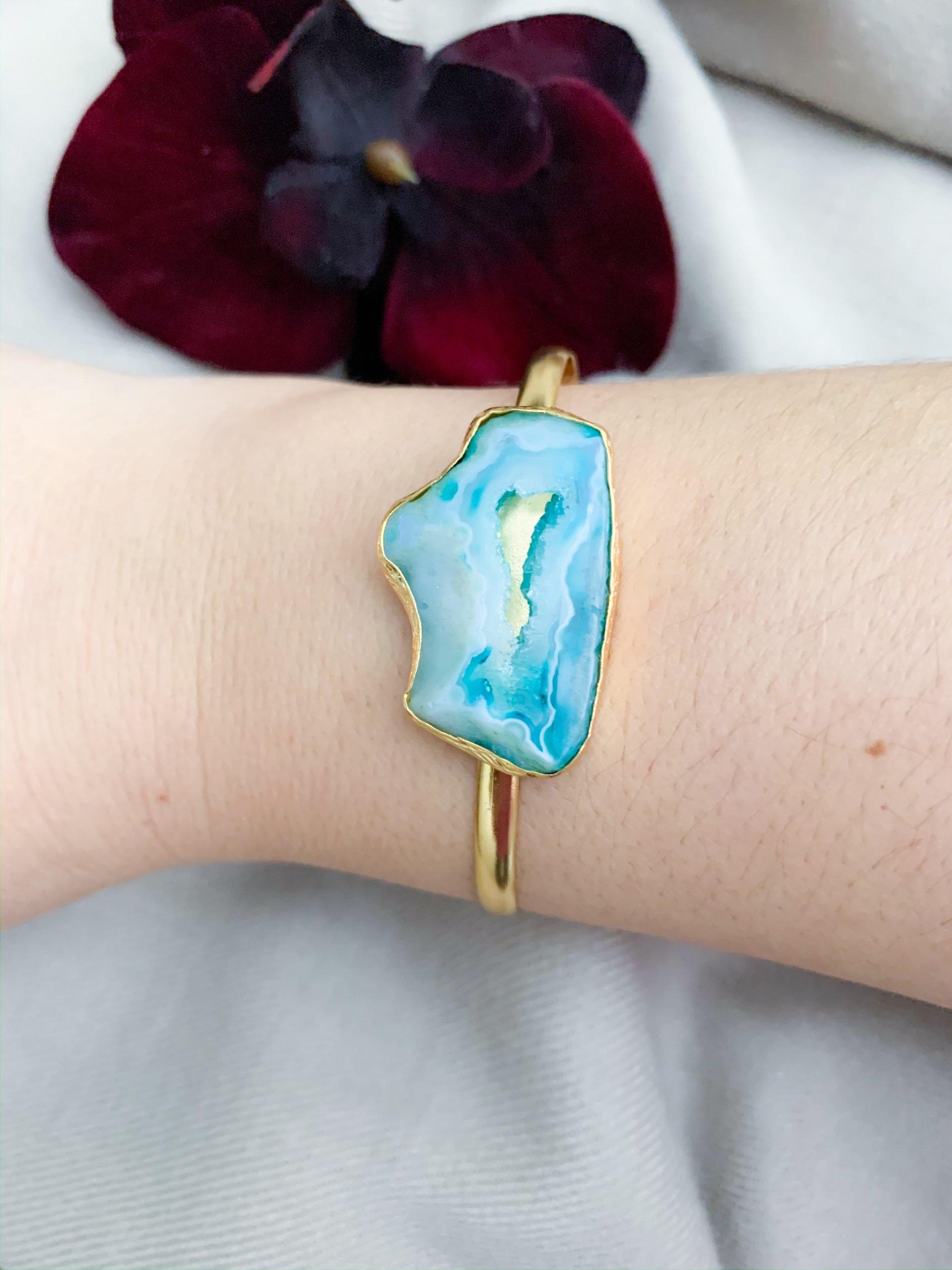 Agaat geode armband