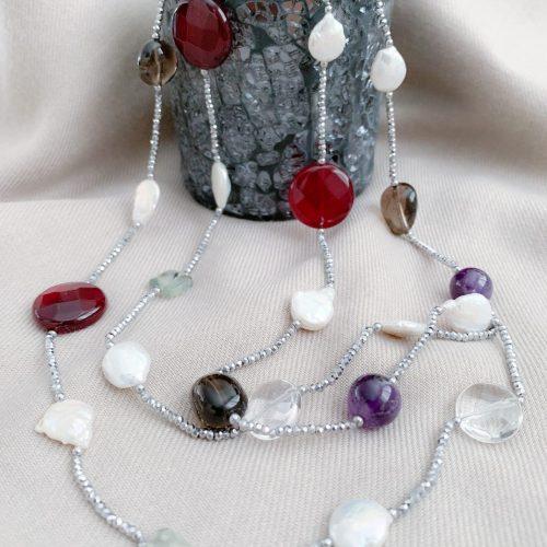 Kristallen, multi edelstenen en zoetwaterparels ketting