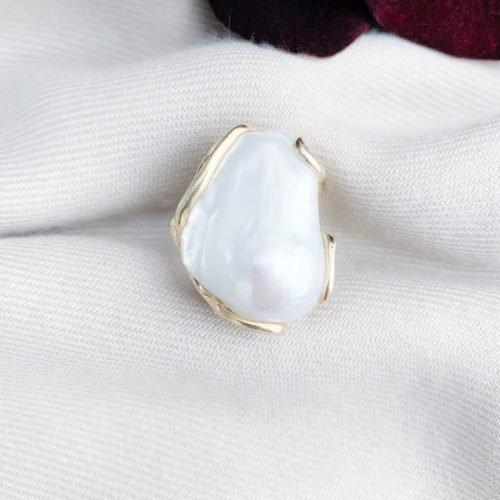 Grote barokparels ring goud over sterling zilver 925